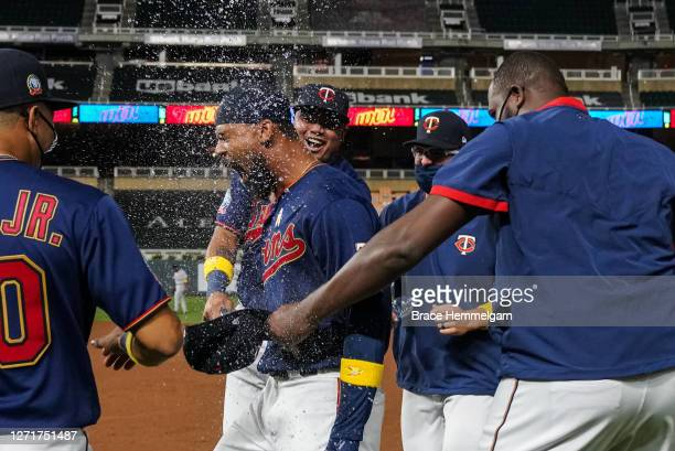 September 05: Byron Buxton of the Minnesota Twins celebrates a walk-off single with teammates against the Detroit Tigers on September 5, 2020 at...