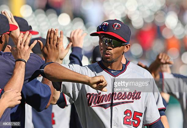 Byron Buxton of the Minnesota Twins celebrates a win over the Detroit Tigers on September 27 2015 at Comerica Park in Detroit Michigan The Twins...