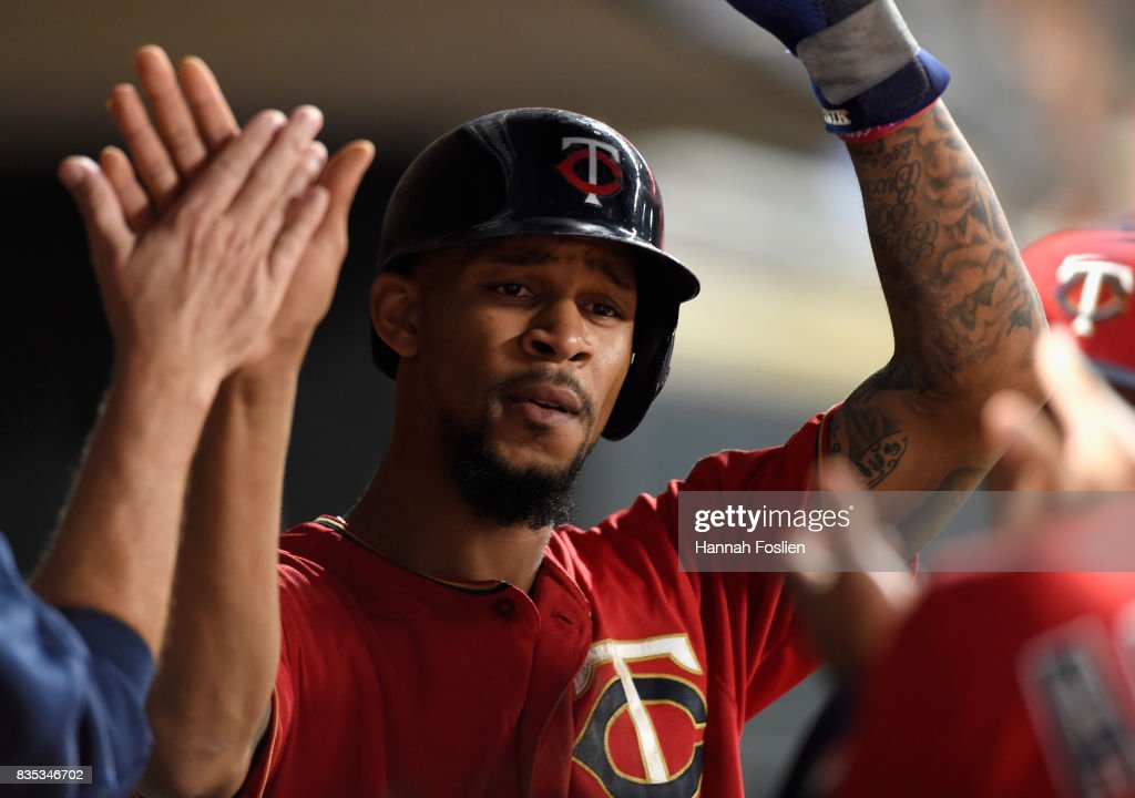 Byron Buxton #25 of the Minnesota Twins celebrates scoring a run against the Arizona Diamondbacks during the sixth inning of the game on August 18, 2017 at Target Field in Minneapolis, Minnesota. The Twins defeated the Diamondbacks 10-3.