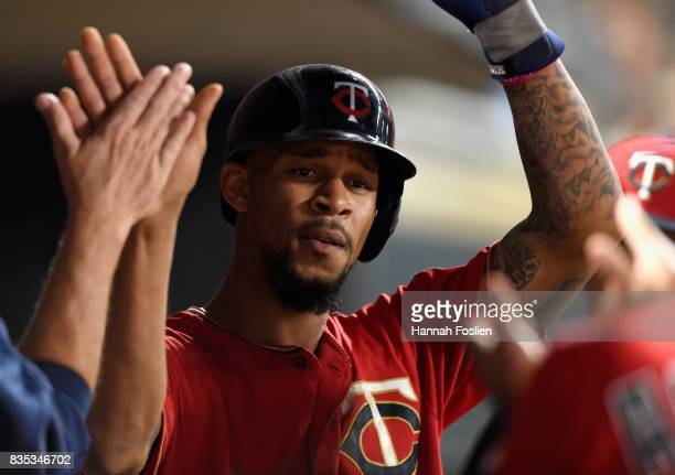 Byron Buxton of the Minnesota Twins celebrates scoring a run against the Arizona Diamondbacks during the sixth inning of the game on August 18 2017...