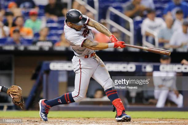 Byron Buxton of the Minnesota Twins hits a 2-RBI double in the fourth inning against the Miami Marlins at Marlins Park on August 01, 2019 in Miami,...