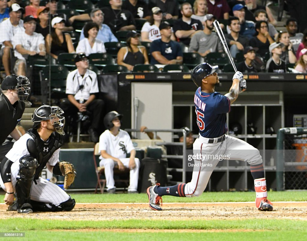 Byron Buxton #25 of the Minnesota Twins hits a home run against the Chicago White Sox during the fifth inning in game two of a doubleheader on August 21, 2017 at Guaranteed Rate Field in Chicago, Illinois.
