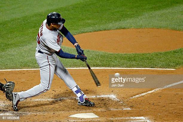 Byron Buxton of the Minnesota Twins hits a two run home run against the Chicago White Sox during the fifth inning at US Cellular Field on October 1...