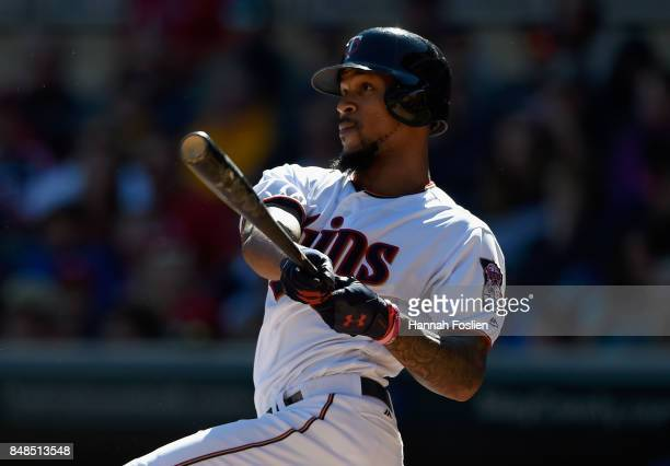 Byron Buxton of the Minnesota Twins hits an RBI double against the Toronto Blue Jays in his second at bat of the second inning of the game on...