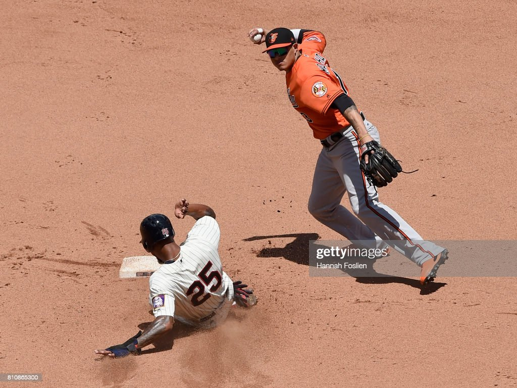 Byron Buxton #25 of the Minnesota Twins is out at second base as Manny Machado #13 of the Baltimore Orioles turns a double play during the fourth inning of the game on July 8, 2017 at Target Field in Minneapolis, Minnesota. The Orioles defeated the Twins 5-1.