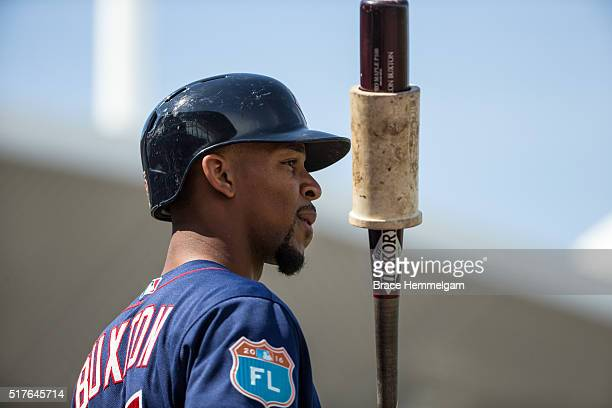 Byron Buxton of the Minnesota Twins looks on against the Boston Red Sox during a spring training game on March 2 2016 at JetBlue Park in Fort Myers...