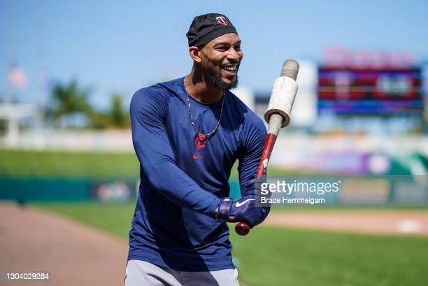 Byron Buxton of the Minnesota Twins looks on during a team workout on February 23, 2021 at the Hammond Stadium in Fort Myers, Florida.