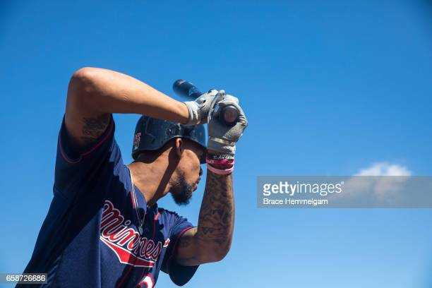 Byron Buxton of the Minnesota Twins looks on during a team workout on February 20 2017 at the CenturyLink Sports Complex in Fort Myers Florida