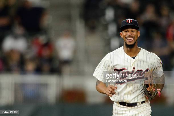 Byron Buxton of the Minnesota Twins looks on during the game against the Kansas City Royals on September 2 2017 at Target Field in Minneapolis...