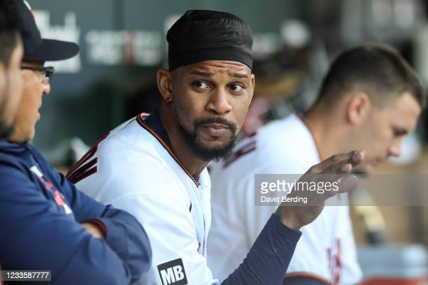 Byron Buxton of the Minnesota Twins looks on in the dugout in the third inning of the game against the Cincinnati Reds at Target Field on June 21,...
