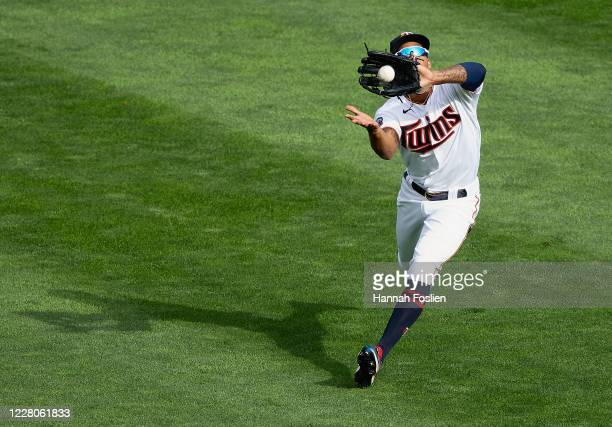Byron Buxton of the Minnesota Twins makes a catch in center field of the ball hit by Hunter Dozier of the Kansas City Royals during the fifth inning...