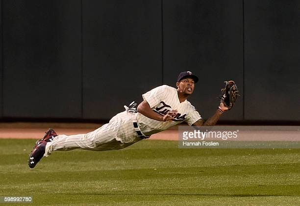 Byron Buxton of the Minnesota Twins makes a catch in center field of the ball hit by Avisail Garcia of the Chicago White Sox during the fourth inning...