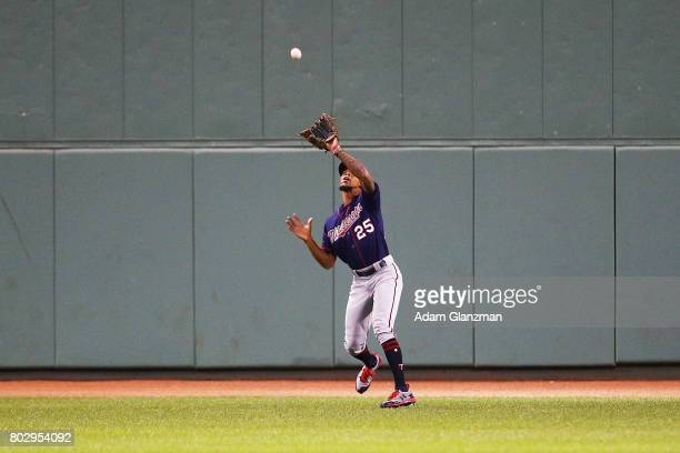 Byron Buxton of the Minnesota Twins makes a catch in the seventh inning of a game against the Boston Red Sox at Fenway Park on June 28 2017 in Boston...