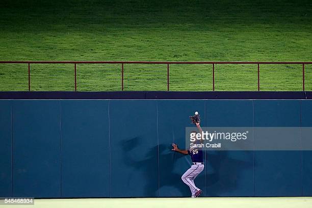 Byron Buxton of the Minnesota Twins makes a catch in the sixth inning during a game against the Texas Rangers at Globe Life Park in Arlington on July...