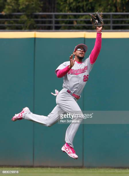 Byron Buxton of the Minnesota Twins makes a leaping catch to get out Jose Ramirez of the Cleveland Indians during the third inning at Progressive...