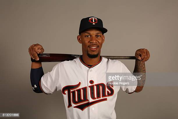 Byron Buxton of the Minnesota Twins poses during Photo Day on Tuesday March 1 2016 at Hammond Stadium in Fort Myers Florida