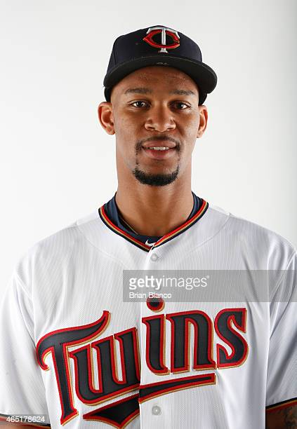 Byron Buxton of the Minnesota Twins poses for a photo on March 3 2015 at Hammond Stadium in Fort Myers Florida
