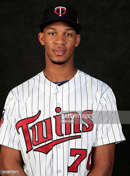 Byron Buxton of the Minnesota Twins poses for a portrait at Hammond Stadium during photo day on February 25 2014 in Fort Myers Florida