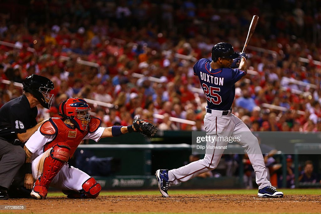 Byron Buxton #25 of the Minnesota Twins records his first career hit, a triple in the eighth inning, while playing against the St. Louis Cardinals at Busch Stadium on June 15, 2015 in St. Louis, Missouri.