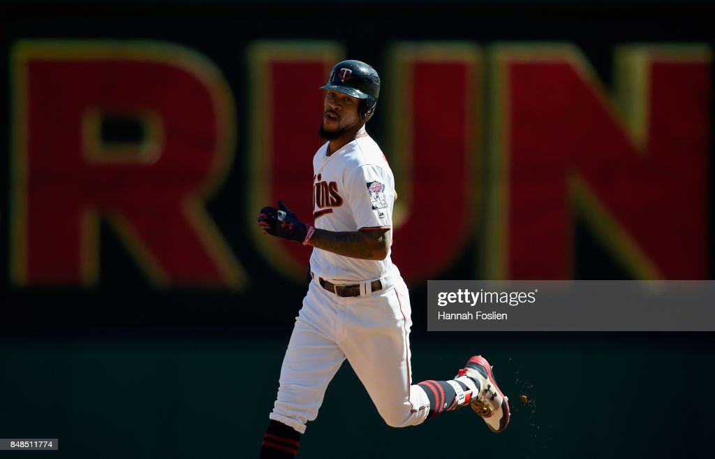 Byron Buxton #25 of the Minnesota Twins rounds the bases after hitting a solo home run against the Toronto Blue Jays during the second inning of the game on September 17, 2017 at Target Field in Minneapolis, Minnesota.