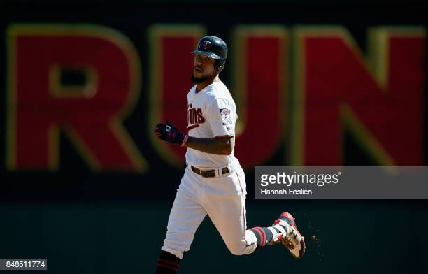 Byron Buxton of the Minnesota Twins rounds the bases after hitting a solo home run against the Toronto Blue Jays during the second inning of the game...
