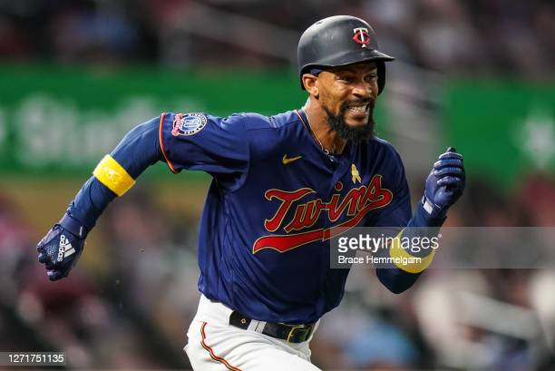 September 05: Byron Buxton of the Minnesota Twins runs for a walk-off single against the Detroit Tigers on September 5, 2020 at Target Field in...