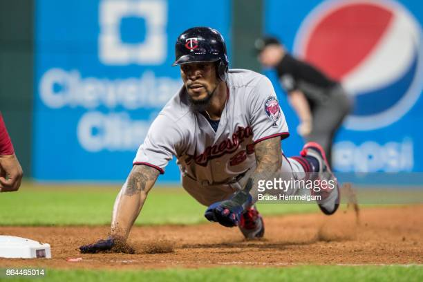 Byron Buxton of the Minnesota Twins slides against the Cleveland Indians on September 26 2017 at Progressive Field in Cleveland Ohio The Twins...