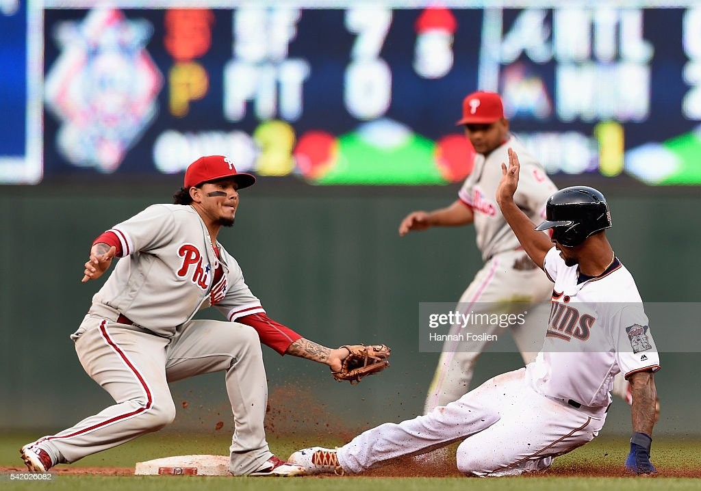 Byron Buxton #25 of the Minnesota Twins steals second base against Freddy Galvis #13 of the Philadelphia Phillies during the second inning of the game on June 21, 2016 at Target Field in Minneapolis, Minnesota.