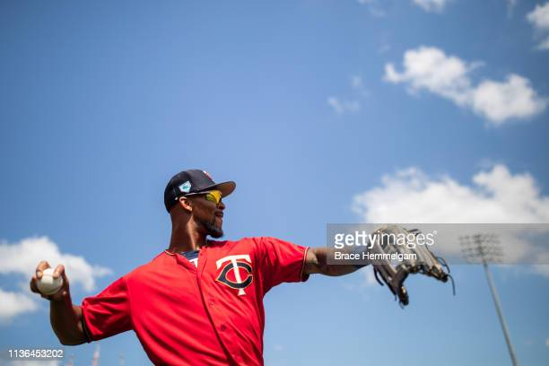 Byron Buxton of the Minnesota Twins throws during a spring training game against the Detroit Tigers on March 11, 2019 at the Hammond Stadium in Fort...
