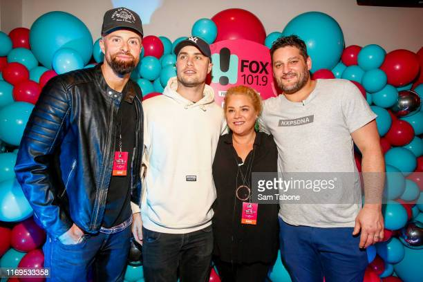 Byron Cooke Illy Yvie Jones and Brendan Fevola attend the Fox FM Thank U Ex Singles Party on August 22 2019 in Melbourne Australia
