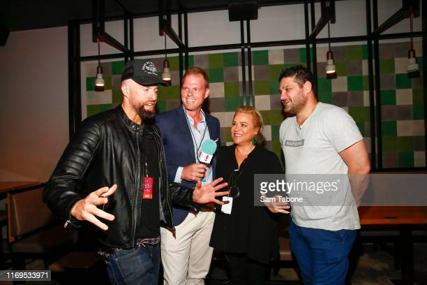 Byron Cooke Jarrod Woodgate Yvie Jones and Brendn Fevola attend the Fox FM Thank U Ex Singles Party on August 22 2019 in Melbourne Australia