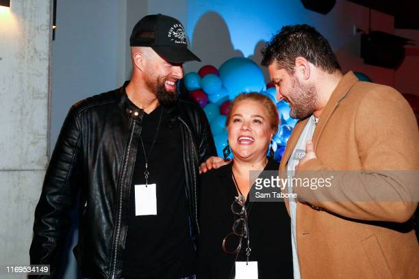 Byron Cooke Yvie Jones and Brendan Fevola attend the Fox FM Thank U Ex Singles Party on August 22 2019 in Melbourne Australia