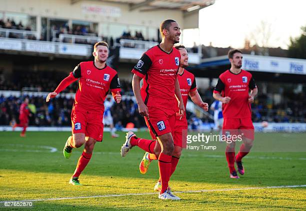 Byron Harrison of Barrow FC celebrates his sides second goal during the Emirates FA Cup Second Round match between Bristol Rovers and Barrow FC at...