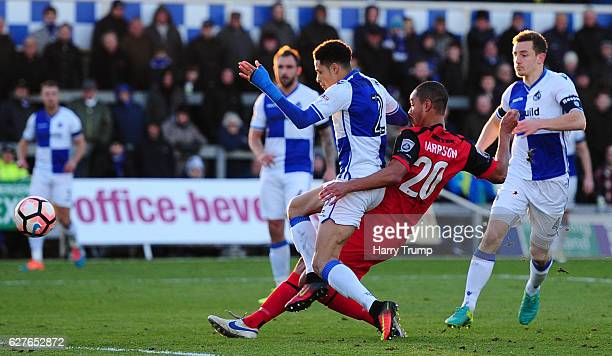 Byron Harrison of Barrow FC scores his sides second goal during the Emirates FA Cup Second Round match between Bristol Rovers and Barrow FC at the...