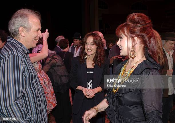 Byron House Patty Griffin and Naomi Judd backstage during the Music Saves Mountains benefit concert at the Ryman Auditorium on May 19 2010 in...