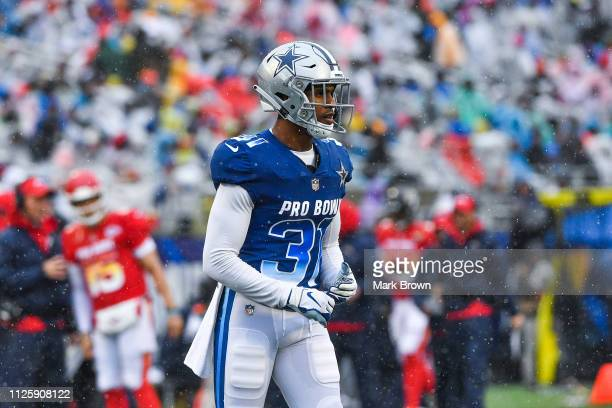 Byron Jones of the Dallas Cowboys in action during the 2019 NFL Pro Bowl at Camping World Stadium on January 27 2019 in Orlando Florida