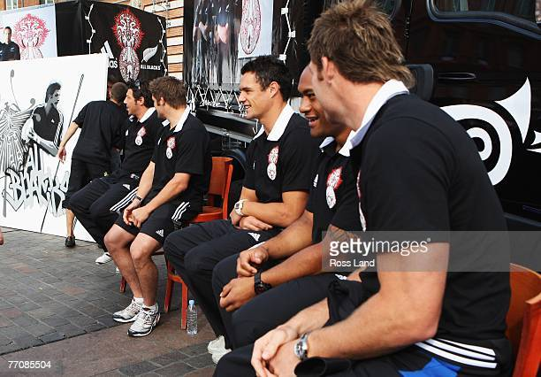 Byron Kelleher Richie McCaw Dan Carter Neemia Tialat and Ali Williams of the New Zealand All Blacks attend an adidas promotional appearance at Place...
