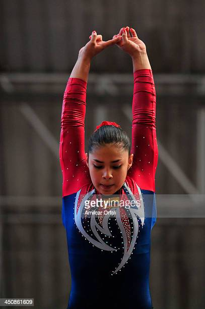 Byron L Lopez of Ecuador competes in balance beam as part of the woman's Gymnastics All Around part of the XVII Bolivarian Games Trujillo 2013 at...