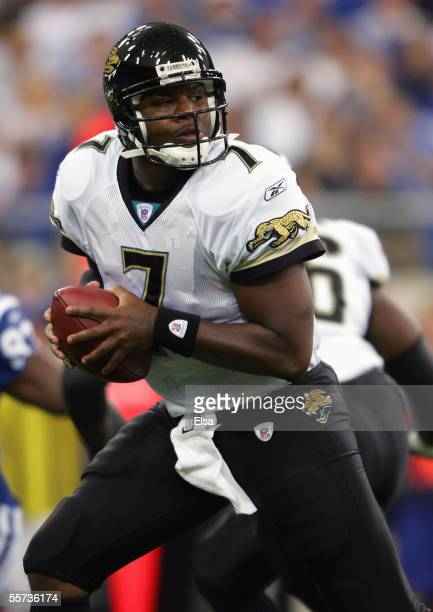 Byron Leftwich of the Jacksonville Jaguars drops back to pass during the game with the Indianapolis Colts on September 18,2005 at the RCA Dome in...