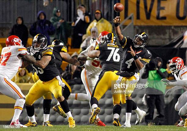 Byron Leftwich of the Pittsburgh Steelers drops back to pass against the Kansas City Chiefs during the game on November 12 2012 at Heinz Field in...