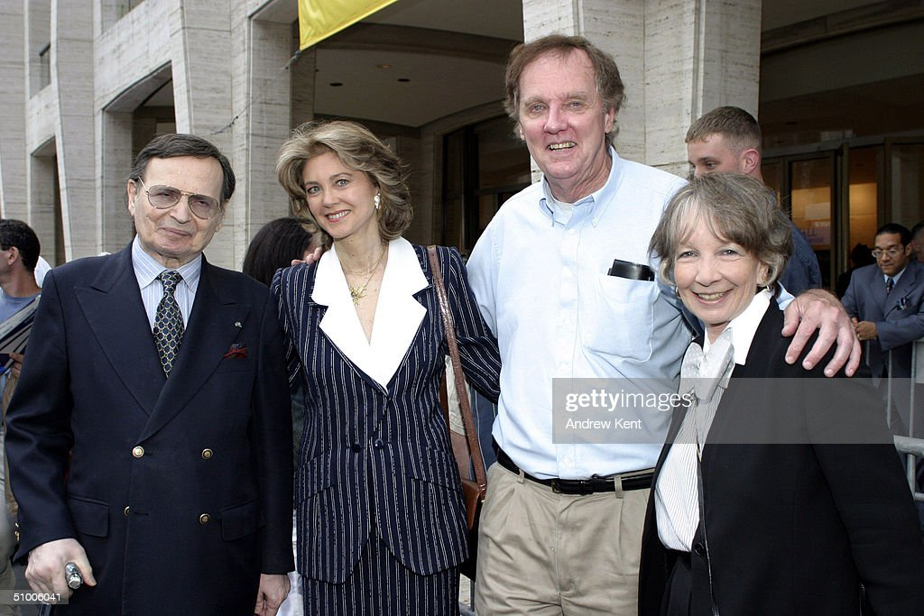 Byron, Maria Cooper, daughter of Gary Cooper, writer and director John Mulholland, guest pose outside before MODA Entertainment's Tribute Screening Of 'Pride Of The Yankees' at Lincoln Center on June 28, 2004 in New York City.