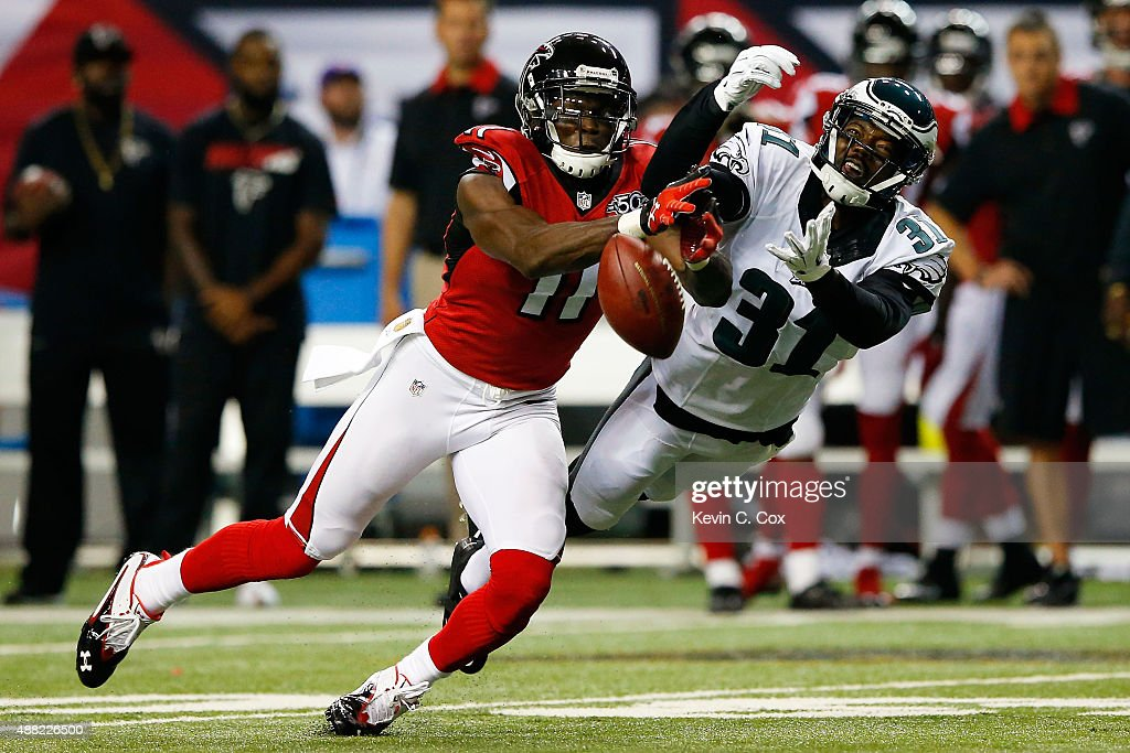 Byron Maxwell #31 of the Philadelphia Eagles breaks up a pass intended for Julio Jones #11 of the Atlanta Falcons during the first half at the Georgia Dome on September 14, 2015 in Atlanta, Georgia.