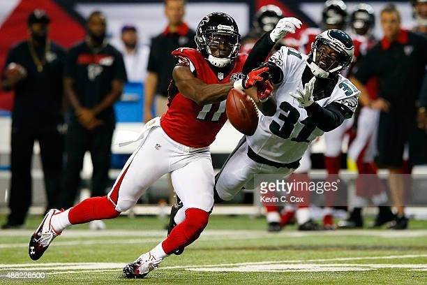 Byron Maxwell of the Philadelphia Eagles breaks up a pass intended for Julio Jones of the Atlanta Falcons during the first half at the Georgia Dome...