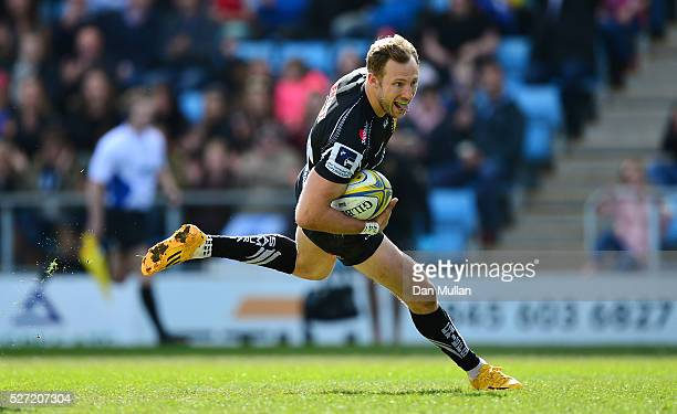 Byron McGuigan of Exeter Braves runs in for a try during the Aviva Premiership A League Final between Exeter Braves and Northampton Wanderers at...