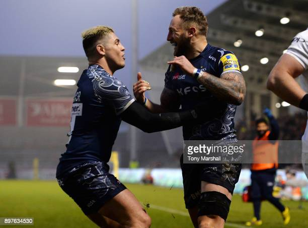 Byron McGuigan of Sale Sharks celebrates scoring their second try during the Aviva Premiership match between Sale Sharks and Bath Rugby at AJ Bell...
