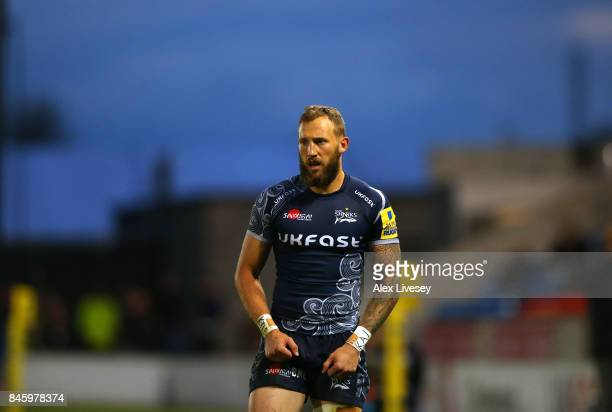 Byron McGuigan of Sale Sharks during the Aviva Premiership match between Sale Sharks and Newcastle Falcons at AJ Bell Stadium on September 8 2017 in...