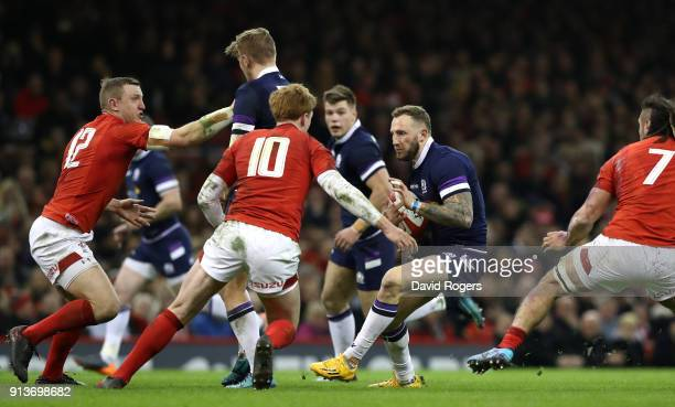 Byron McGuigan of Scotland on the charge during the Natwest Six Nations round One match between Wales and Scotland at Principality Stadium on...