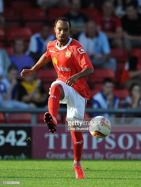 Byron Moore of Crewe Alexandra in action during the pre season friendly match between Crewe Alexandra and Blackburn Rovers at The Alexandra Stadium...