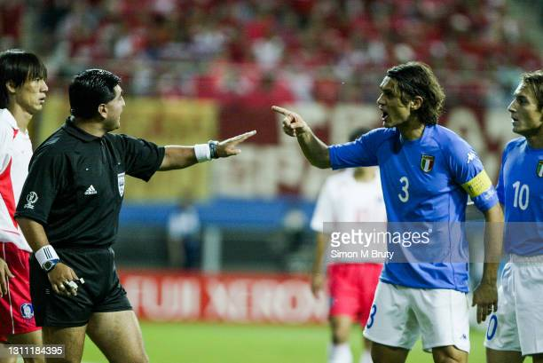 Byron Moreno referee and Paolo Maldini of Italy during the World Cup round 16 match between South Korea and Italy at the Daejeon World Cup Stadium on...