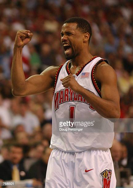 Byron Mouton of the University of Maryland Terrapins celebrates during the men's NCAA National Championship game against the Indiana University...